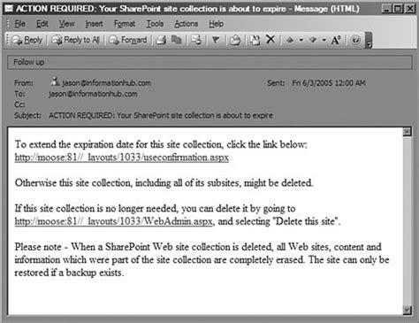 Customizing The Site Collection Retention Warning Email Sharepoint 2003 Advanced Concepts Email Collection Template