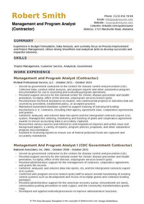 management and program analyst resume sles qwikresume