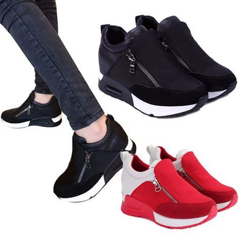 heel sport shoes sneakers zip wedge heel sport shoes lazada ph