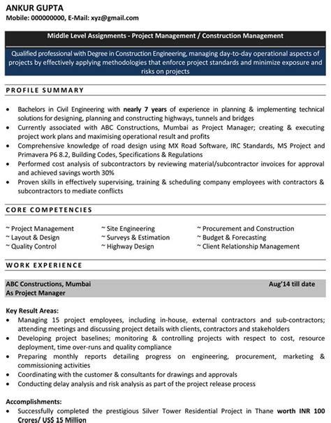 civil engineer resume exles exles of resumes