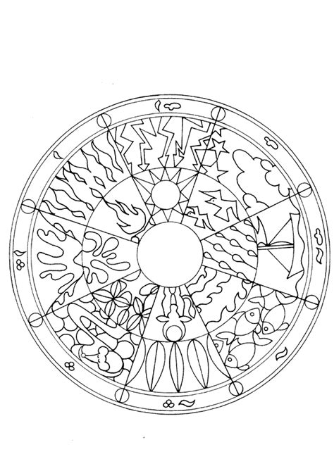 coloriage mandala elements sur hugolescargotcom
