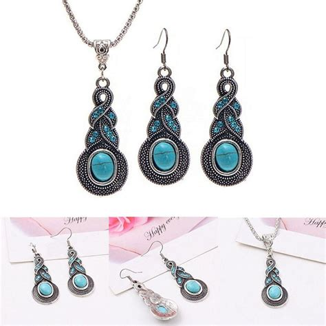 Fashion Necklace 1 1 Set Necklace 1 Pair Earring Vintage Turquoise Necklace