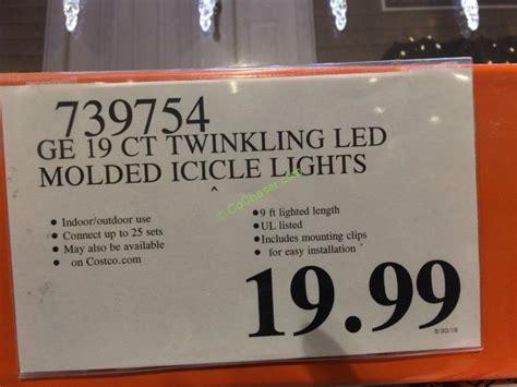 ge twinkling led icicle lights costco costco 739754 ge 19 count twinkling led molded icicle