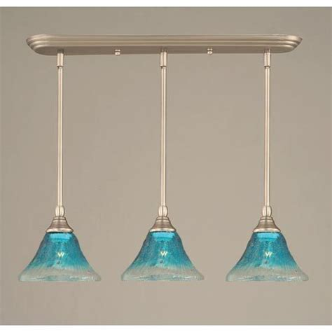Teal Pendant Light Toltec Lighting Brushed Nickel Three Light Mini Pendant With Teal Glass Shade