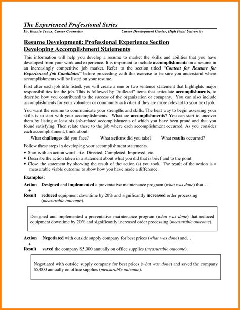 Resume Accomplishment Exles 9 Accomplishments In Resume Educationalresume Or