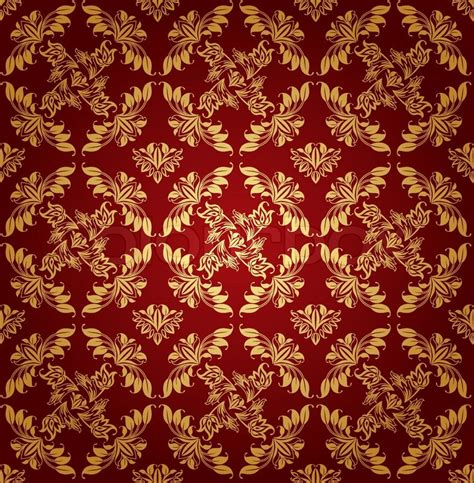 gold red pattern seamless pattern ornament floral decorative background