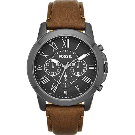Fossil Wacth fossil mens grant gunmetal grey with grey and brown fs4885 fossil from