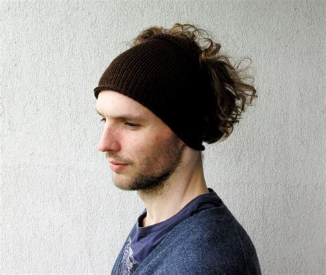 headbands for men with long hair knitted mens headband guys knit hair wrap brown guys fall