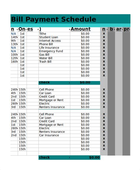 Payment Schedule Template Excel by Excel Schedule Template 11 Free Pdf Word