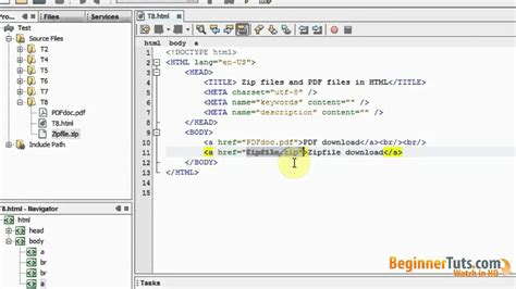 html tutorial beginner html tutorial 8 zip files and pdf files in