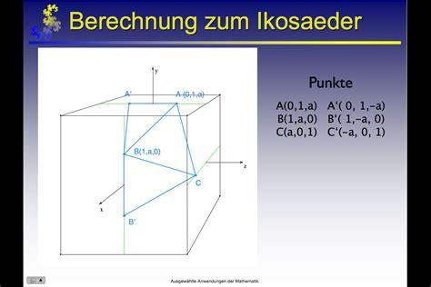 Platonische Körper im Koordinatensystem O
