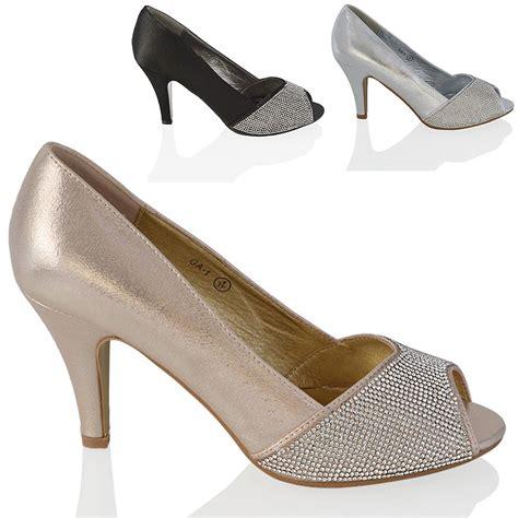 low cost wedding shoes uk low heel diamante peep toe womens sparkly