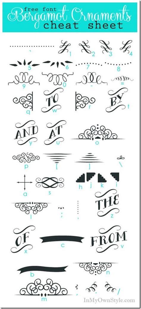 Wedding Font Ornament by Font Sheets Bergamot Ornaments Character Map