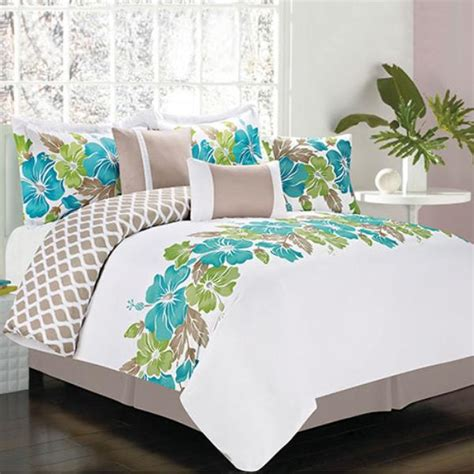 new bed bag king queen full twin 7 pc teal white tropical