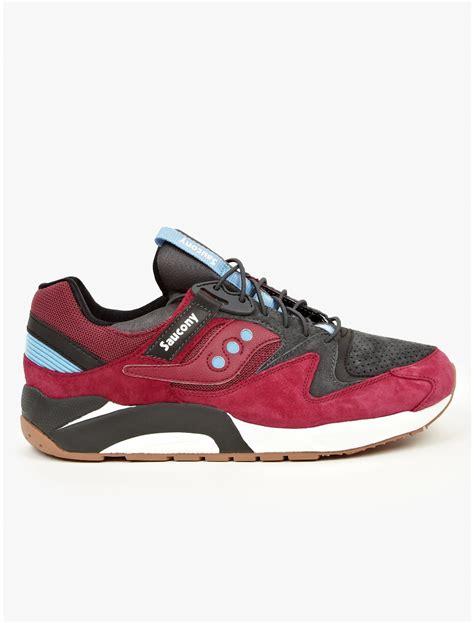 saucony sneakers mens saucony mens magenta suede grid sneakers in for