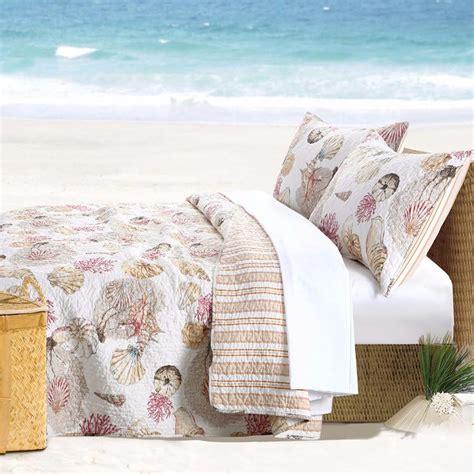 beach themed coverlets coastal beach seashell cotton bedding quilt set luxury