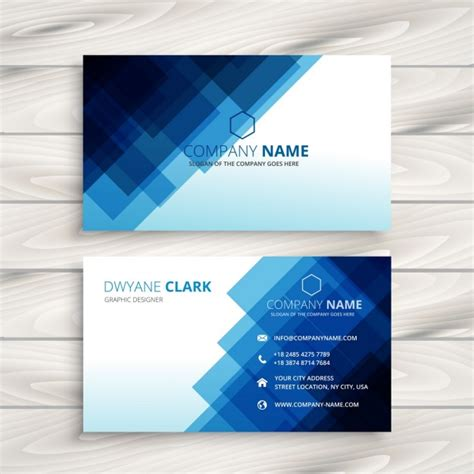 blue business card template abstract blue business card template vector free