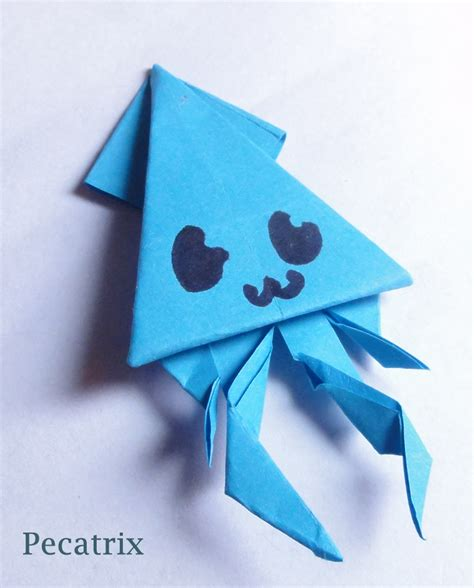 Origami With Sticky Notes - blue sticky note origami squid by pecatrix on deviantart