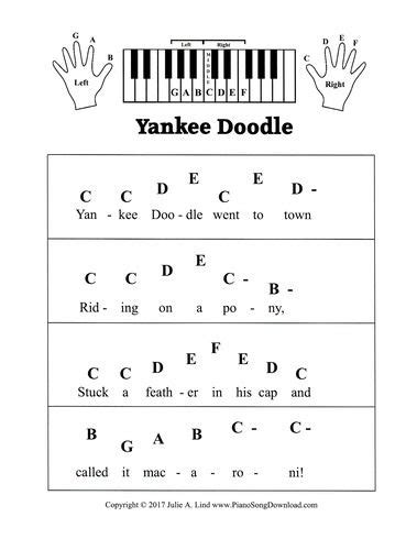 yankee doodle rhyme free yankee doodle pre staff piano sheet with letters a