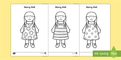 Worry Doll Coloring Page | worry dolls colouring page silly billy worrier worry box