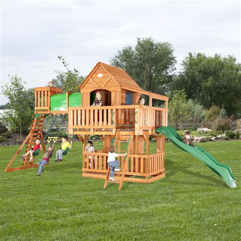 woodridge wooden swing set with slide backyard discovery woodridge cedar swing set free