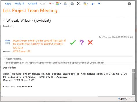 Exle Invitation Meeting Email Responding To A Meeting Invitation Information Technology Services Uits