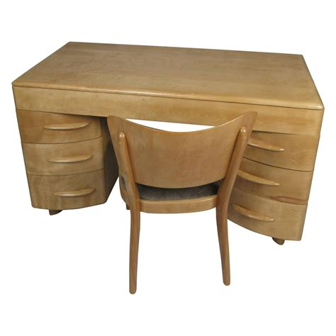 vintage 1950s birch kneehole desk and chair by heywood