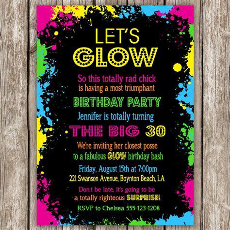neon party invitation wording glow   dark