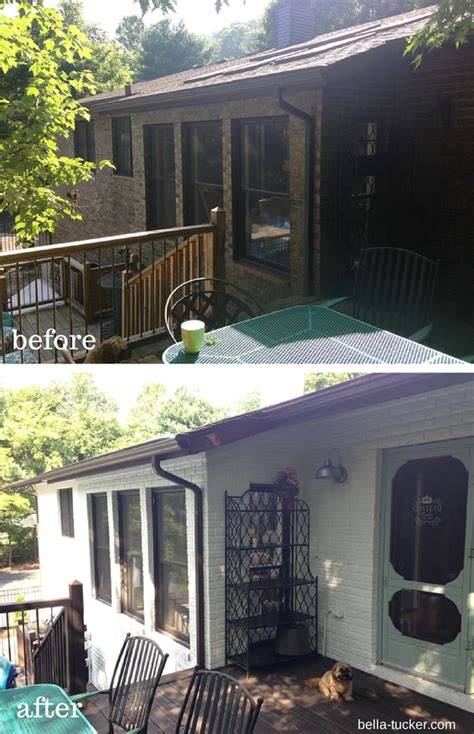 How To Paint Faux Bricks - white painted brick exterior before and after bella tucker decorative finishes