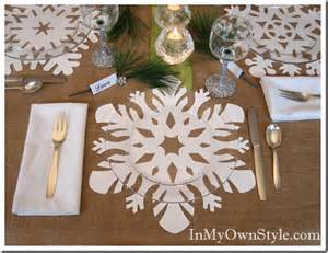 Round Glass Top Dining Room Table by Holiday Table Setting Snowflake Place Mats Place Cards
