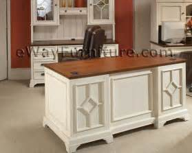 Cherry Wood Bookcases Distressed White 66 Inch Executive Home Office Desk