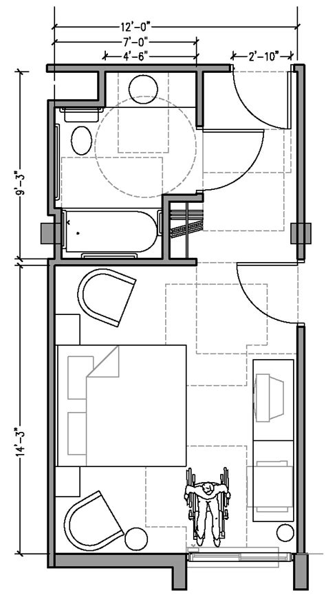 room dimension planner plan 3a accessible 12 ft wide hotel room based on 2004