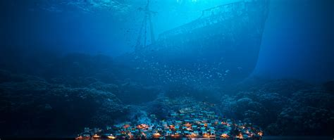 ship  town underwater full hd  wallpaper