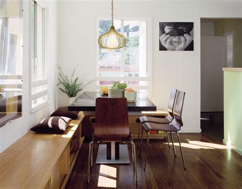 dining room with custom storage bench modern dining