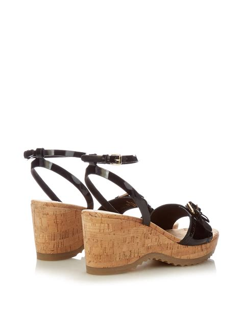 Stella Mccartney Sea Grass Wedges by Stella Mccartney Faux Leather Wedge Sandals In Black