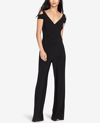 dressy jumpsuits at macys for women lauren ralph lauren stretch jersey cold shoulder jumpsuit