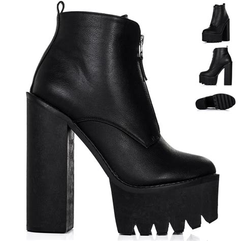 new womens block chunky heel cleated sole zip platform