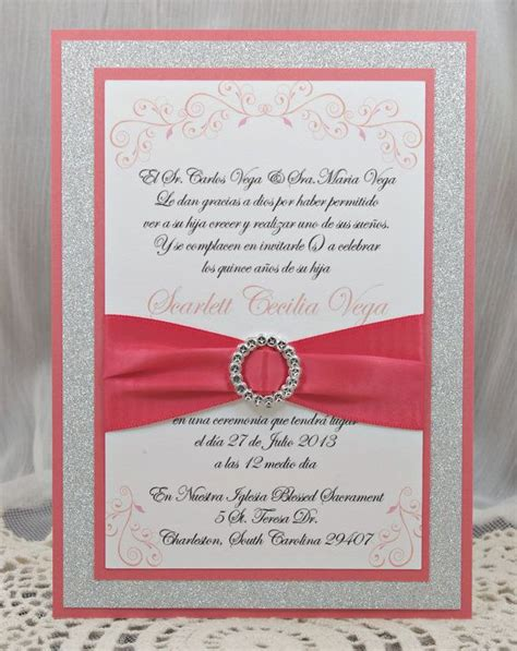 Handmade Quinceanera Invitations - coral quincea 241 era sweet sixteen invitation of