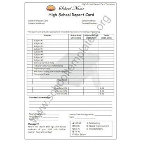 report card template high school high school report card template images frompo