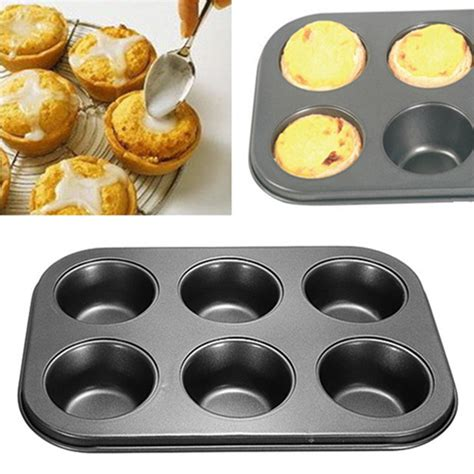 Loyang Mini Aluminium Tebal Stainless 6 holes non stick stainless steel muffin cake baking pan cookies tray alex nld