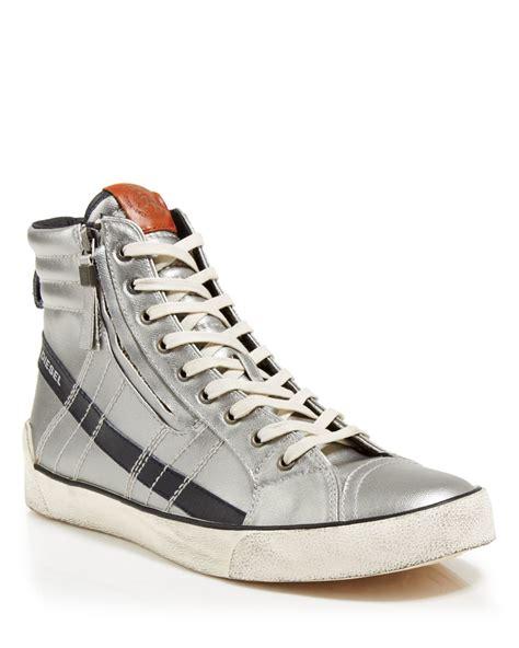 diesel high top shoes diesel d velows d string plus metallic high top sneakers