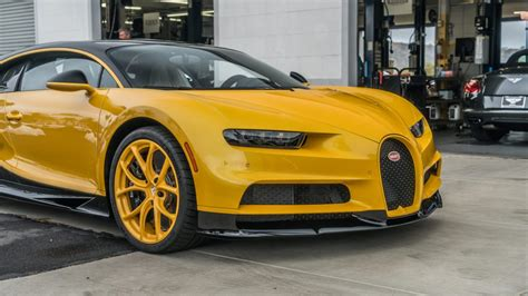 yellow bugatti chiron united states first bugatti chiron delivered