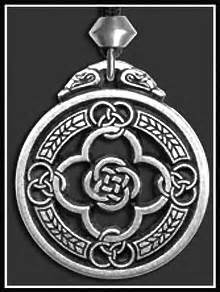 New horned moon pentacle pendant dryad design silver wicca prosperity