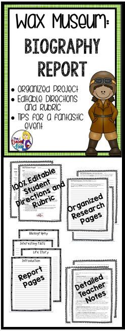 biography ideas for 6th graders wax museum biography research report for 3rd 6th grade