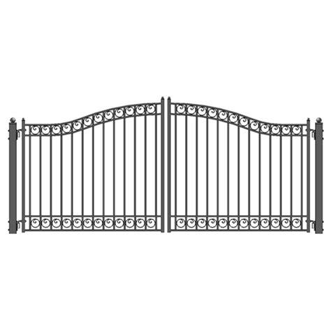 dual swing gate aleko dublin style swing dual iron driveway gates 18