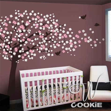 Cherry Blossom Tree Wall Decal For Nursery Cherry Blossom Tree With Birds Nursery Wall Decal