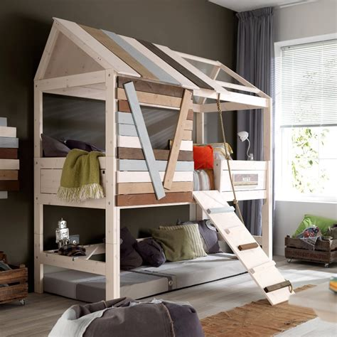 tree house loft bed high tree house rope bed unique kids beds cuckooland