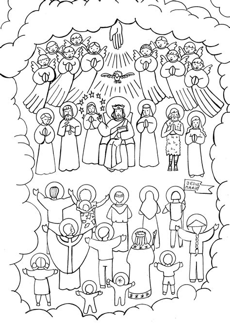 Saints Coloring Pages Printable Catholic Saints All Saints Day Coloring Page