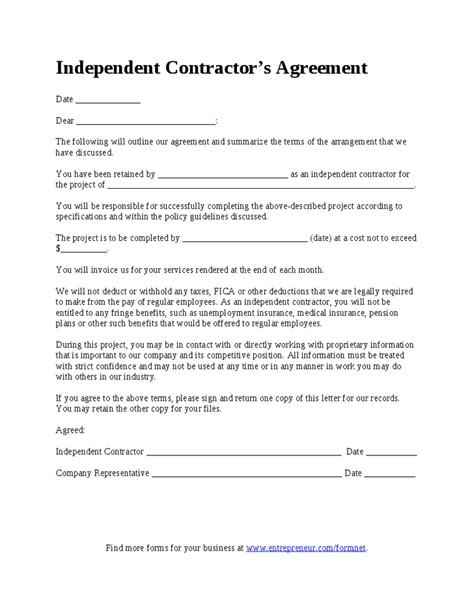 5 independent contract templates sample examples free