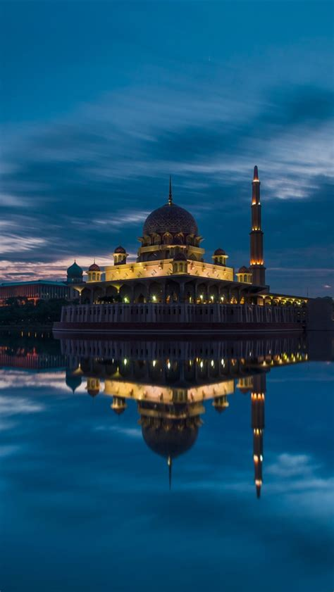 City Wallpaper Iphone 4 4s 5 5s 5c 6 6s Plus malaysia putrajaya mosque evening lake iphone